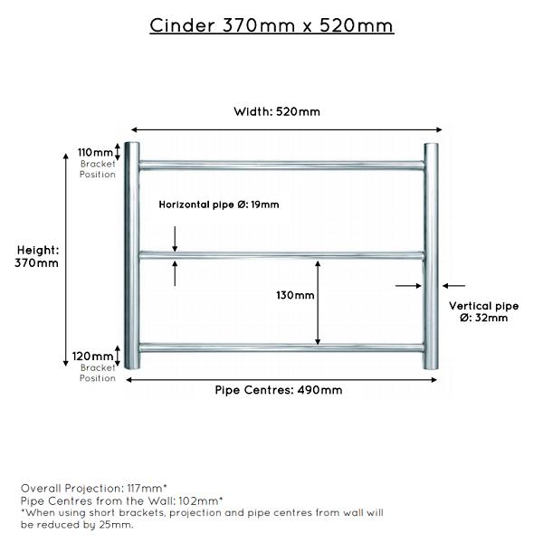 JIS Cinder Stainless Steel 370x520mm Heated Towel Rail-22408
