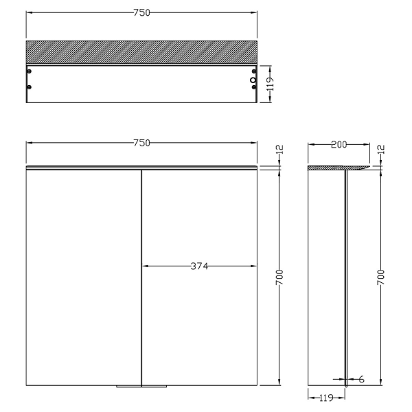Saneux Glacier 750x700mm Wall Mounted Mirrored Cabinet-22260