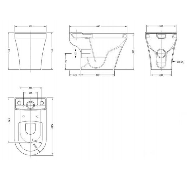 Hudson Reed Luna Complete Semi Flush Close Coupled Toilet-22063