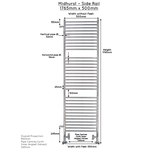 JIS Midhurst Stainless Steel 1765x560mm Heated Towel Rail-22484