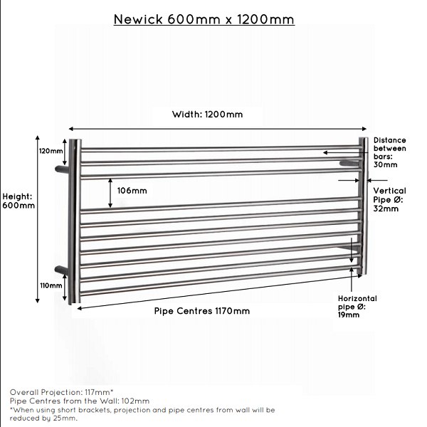 JIS Newick 1200 Stainless Steel 600x1200mm Heated Towel Rail-22399