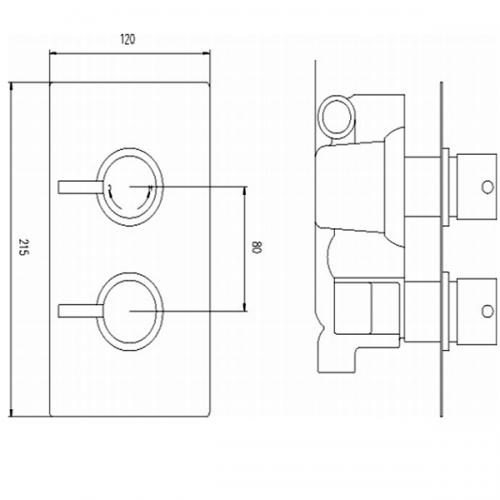 Premier Quest 2 Outlet 2 Handle Thermostatic Shower Valve-22020