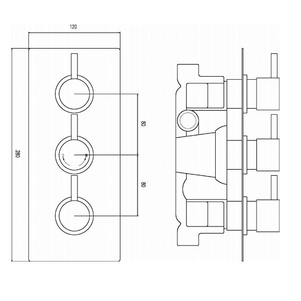 Premier Quest Triple Thermostatic Shower Valve With Diverter-22013