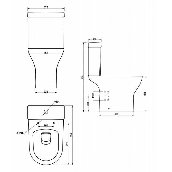 Premier Saffron Compact Semi Flush To Wall Pan and Cistern-22088