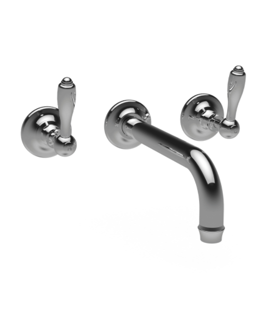 St James Collection English Lever Three Hole Wall Mounted Basin Mixer - Long Reach Spout