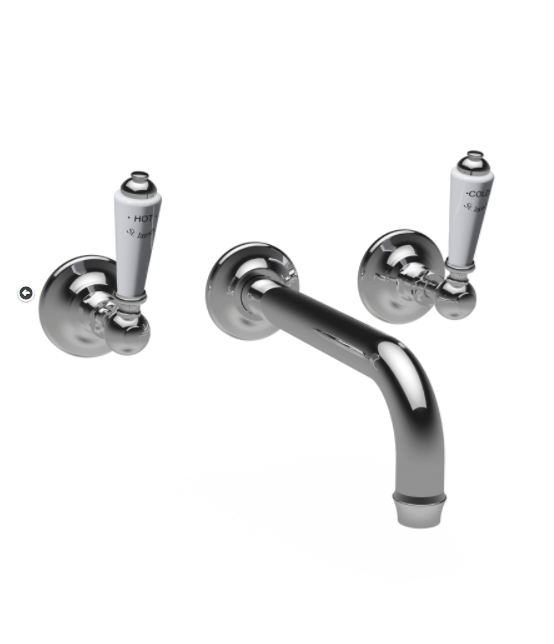 St James Collection London Lever Three Hole Wall Mounted Basin Mixer - Long Reach Spout