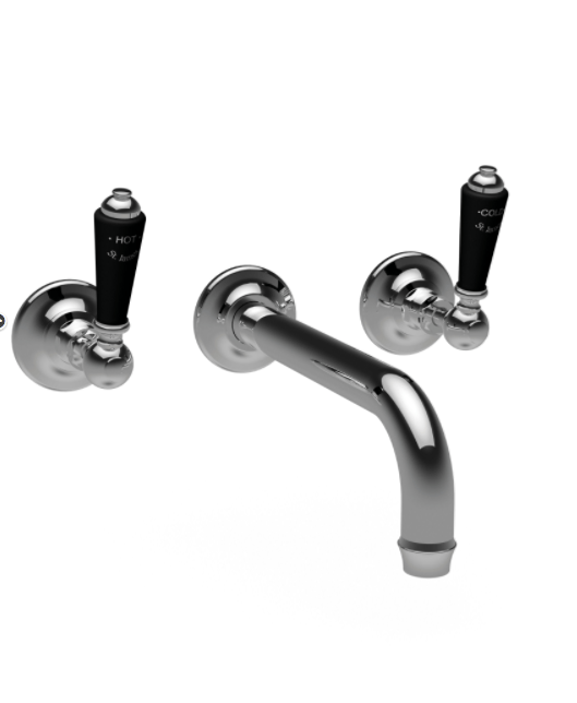 St James Collection Black London Lever Three Hole Wall Mounted Basin Mixer - Long Reach Spout