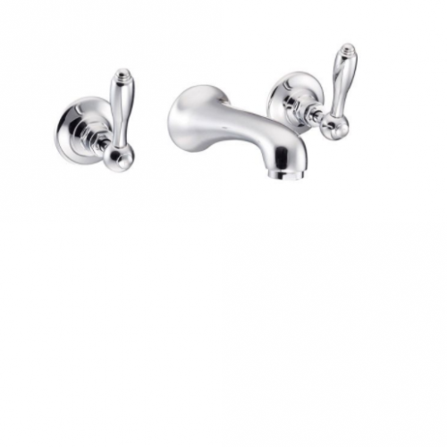 St James Collection English Lever Three Hole Wall Mounted Basin Mixer - Short Reach Spout