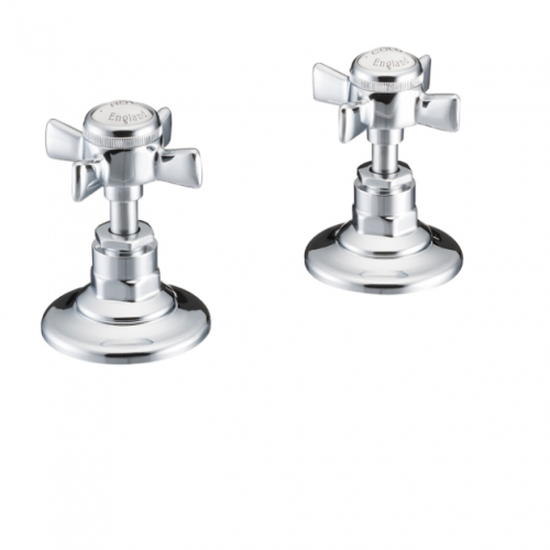 St James Collection English Handles Deck Mounted Bath Valves