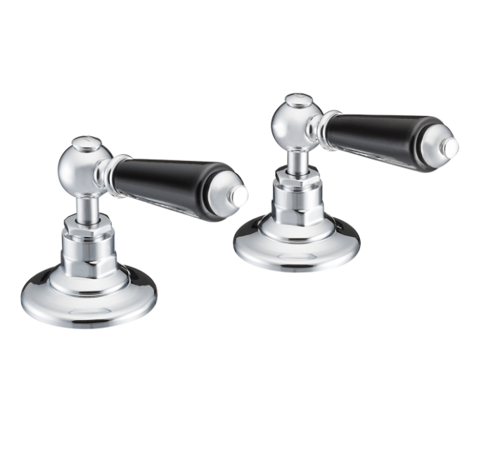 St James Collection Black English Lever Deck Mounted Bath Valves