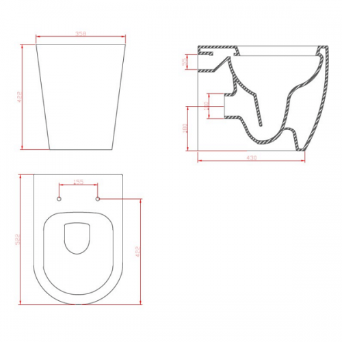 Saneux Uni Back To Wall WC Pan and Soft Close Seat-22285