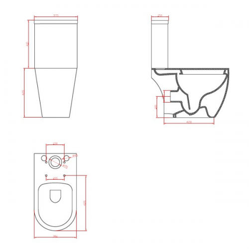 Saneux Uni Open Back Close Coupled WC With Soft Close Seat-22267