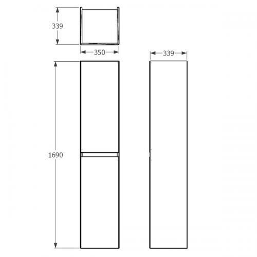 Saneux Uni Tall Boy 1700mm Gloss White Wall Storage Unit-22273