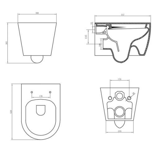 Saneux Uni Wall Hung 517mm Rimless WC Pan and Seat-22278