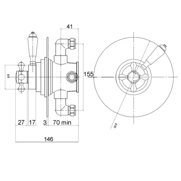 Premier Victorian Dual Thermostatic Round Shower Valve-22030