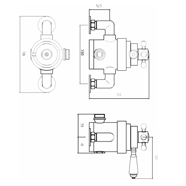 Premier Victorian Dual Thermostatic Exposed Shower Valve-22029