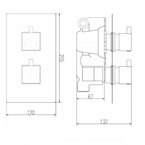 Premier Volt Thermostatic 2 Outlet 2 Handle Shower Valve-21997
