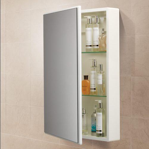 Hib Tulsa Slimline Single Door White Gloss Mirrored Bathroom Cabinet